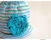 Baby Hat , Hand Knit Roll Brim Cloche, Crochet Flower, Striped Turquoise Lilac Purple Teal, Girl