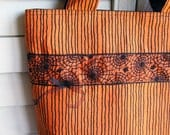 Knitting Tote Bag, Halloween Orange & Black Stripes, Spider Webs, Sturdy with Lots of Pockets