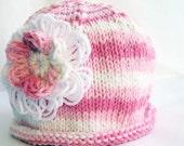 Baby Hat Cloche, Custom Size Double Flower, Pink & White Cotton Yarn