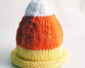 Baby Hat, Candy Corn Photo Prop, Yellow Orange White, Hand Knit Halloween - Custom You Pick Size