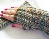 Fingerless Gloves Hand Knit, Hand Warmers Soft Merino Wool, Beige Aqua Gold Tuscan Sunrise