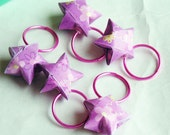 Knitting Stitch Markers, Origami Stars, Pink Rings, Bright Pink Flowers, Set of 5, Gift Box