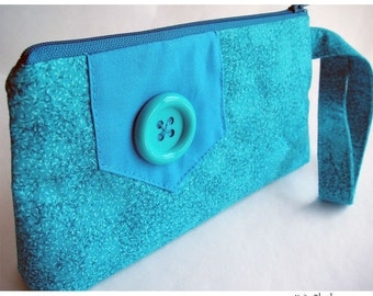 Zipper Pouch Cosmetics Bag Knitting Notions Wristlet Button Flap Marine Blue Turquoise