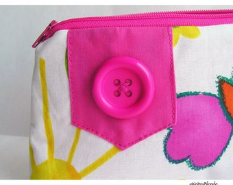 Cosmetics Bag, Knitting Notions Zipper Pouch, Hot Pink Spring Butterfly Duck Print