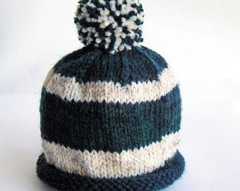 Hand Knit Baby Hat, Pom Pom Beanie, Navy Blue White Stripes, Photo Prop, Newborn