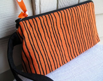 Halloween Orange and Black Cosmetics Wristlet Bag Zipper Pouch Knitting Notions Project Bag