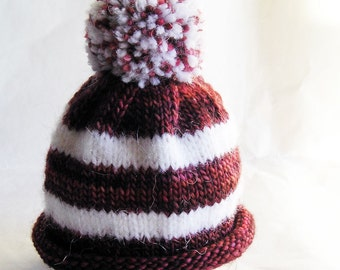 Roll Brim Pom Pom Hat for Premie or Newborn Baby Extra Small Size Red & White