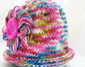 Photo Prop Baby Hat, Loopy Flower, Big Button, Bright Pink Multi Color, Hand Dyed Merino Wool