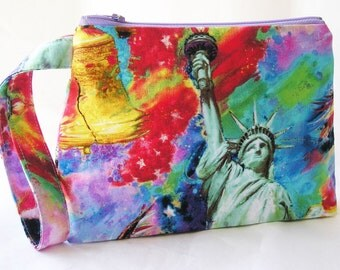 Cosmetics Bag Knitting Notions Zipper Pouch Statue of Liberty Americana Multicolor Larger Size