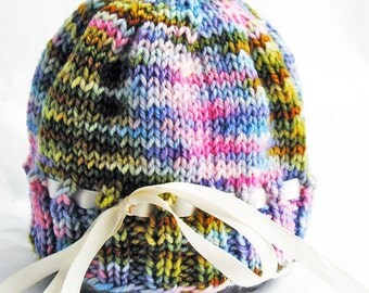 Hand Knit Baby Hat, Photo Prop, Merino Wool, Multi Color, Satin Ribbon, Pink Blue Green Orange