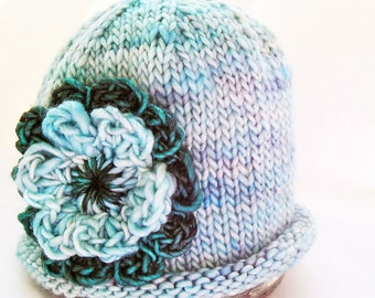 Photo Prop Baby Hat, Crochet Double Flower, Hand Knit Hand Dyed Premium Merino Wool, Aqua Blue Teal