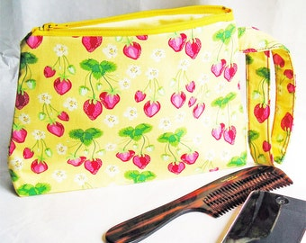 Cosmetics Bag Knitting Notions Zipper Pouch Summer Strawberries on Sunshine Yellow Larger Size