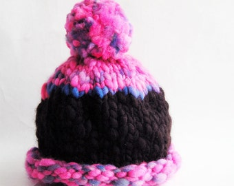 Baby Hat Photo Prop Thick Chunky Premium Hand Spun Merino Wool, Hot Pink Black Pom Pom