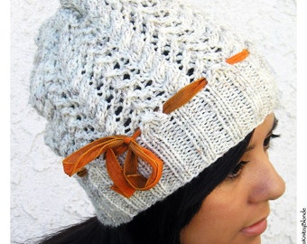 Hand Knit Cables & Lace Slouch Hat, Wool Blend Yarn, Cream Off-White, Pumpkin Spice Silk Ribbon