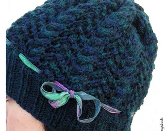 Hand Knit Cables & Lace Slouch Hat, Wool Blend Yarn, Dark Teal Blue Green, Silk Ribbon