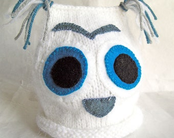 Snow Owl Baby Hat, Photo Prop, Hand Knit, White Blue Gray, Size 3-6mos