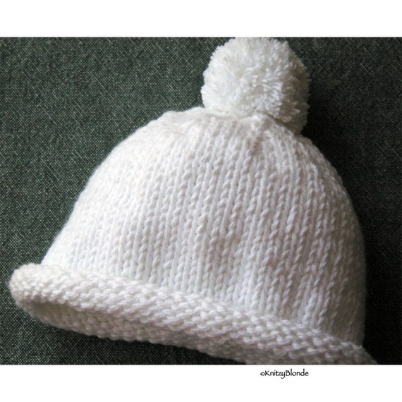 Roll Brim Pom Pom Hat for Baby - Custom Made You Choose Color and Size