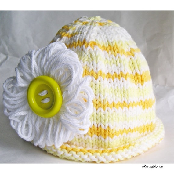 Photo Prop Baby Hat Cloche, Sunshine Yellow Stripe, Loopy Daisy, Big Button, Cotton Yarn