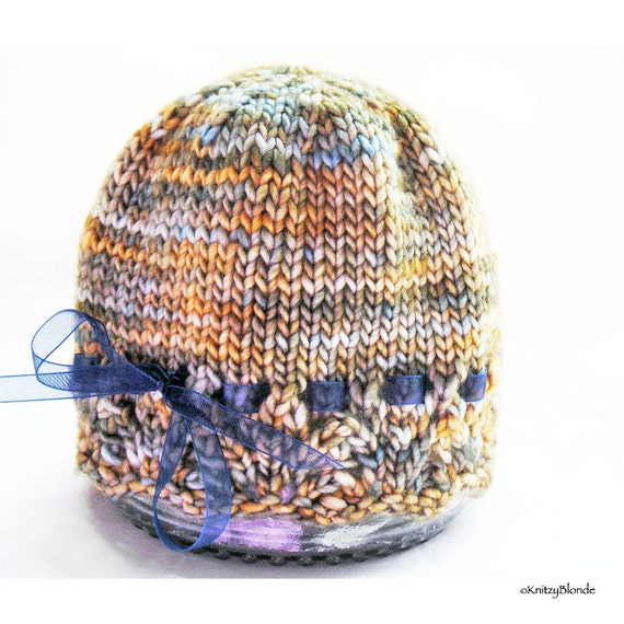 Baby Hat Lacy Lace Edged Hand Knit Hand Dyed Premium Merino Wool, Gold Beige Blue
