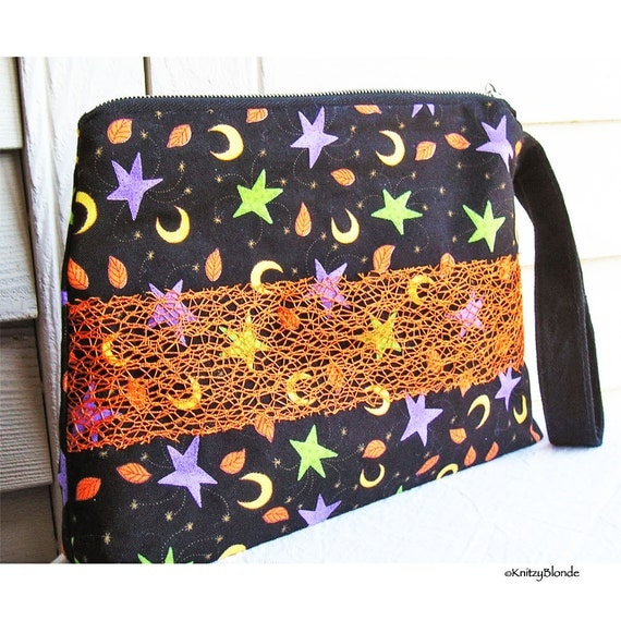 Cosmetics Bag, Knitting Notions Pouch, Autumn Leaves Moons Stars Black Orange Purple Green