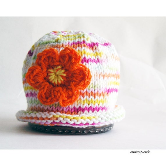 Knit Baby Hat, Photo Prop, Cloche Orange Flower Multi Color Cotton Yarn White Pink Yellow Green