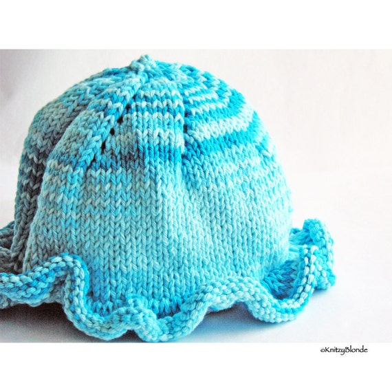 Baby Sun Hat, Ruffle Brim, Photo Prop, Cotton Yarn, Bright Turquoise Blue, Summer Beach Cap