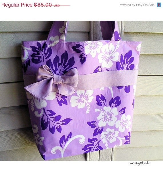 Super Big Knitting Tote Bag Pretty Hawaiian Hibiscus Print Purple Lilac & White - Perfect Handbag Knitting Tote Combo by KnitzyBlonde