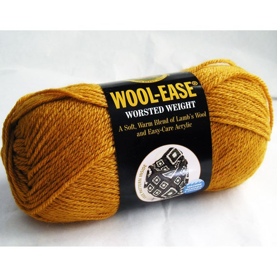 Wool Ease Yarn, Lion Brand, Acrylic Wool Blend, Worsted Weight, Washable, Sienna Rusty Brown Orange