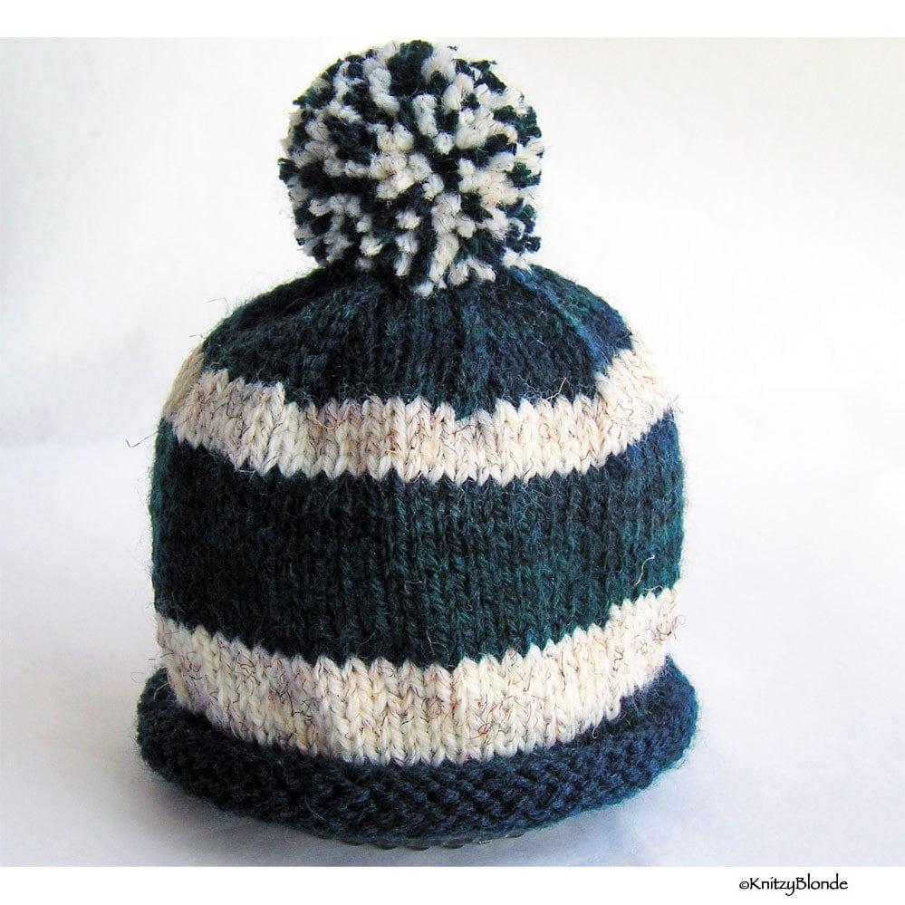 Hand Knit Baby Hat Pom Pom Beanie Navy Blue White Stripes