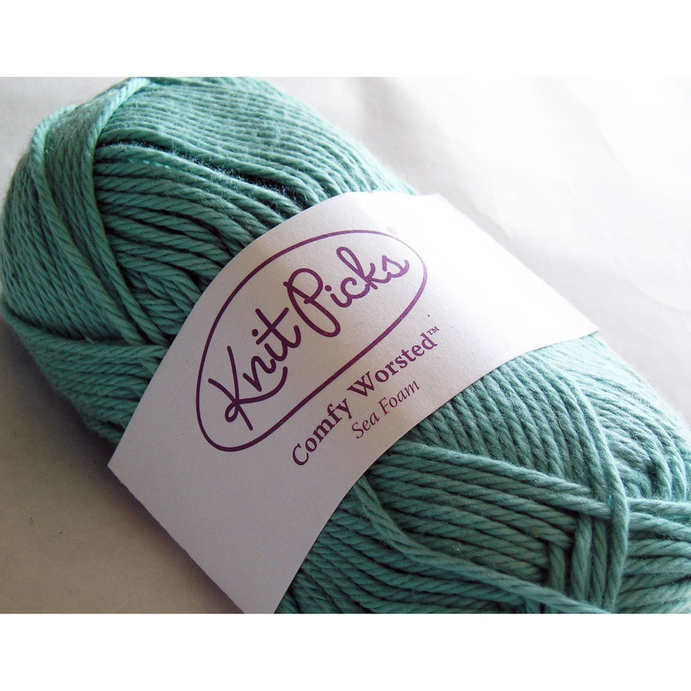 Knit Picks Yarn Cotton Acrylic Comfy Worsted Weight Seafoam