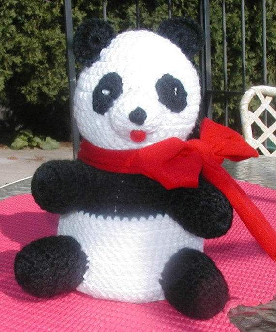 Panda bear toilet tissue cover crochet by itsybitsyspidershop for Panda bear decor