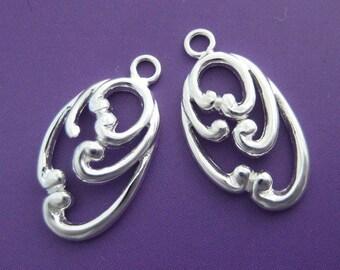 2 pcs 17mm sterling silver fancy oval plate filigree charm pendant (BSS109)