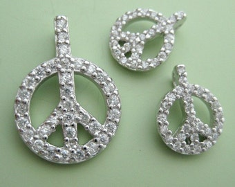 3 pcs sterling silver large peace charm pendant with cz (BSS138)
