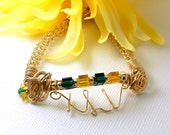 Handcrafted Green and Gold Superbowl Bracelet Wire Wrapped in 14kt Gold Filled Wire