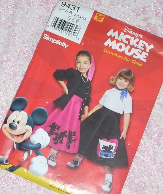 Child Mickey Mouse Costume Skirt Uncut Pattern By