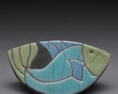Fish,Handmade ceramic, raku fired clay,  rocking fish,home decor,whimsy