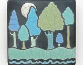 Trees and Moon, ceramic handmade tile, wall decor, a 3x3 raku fired art tile