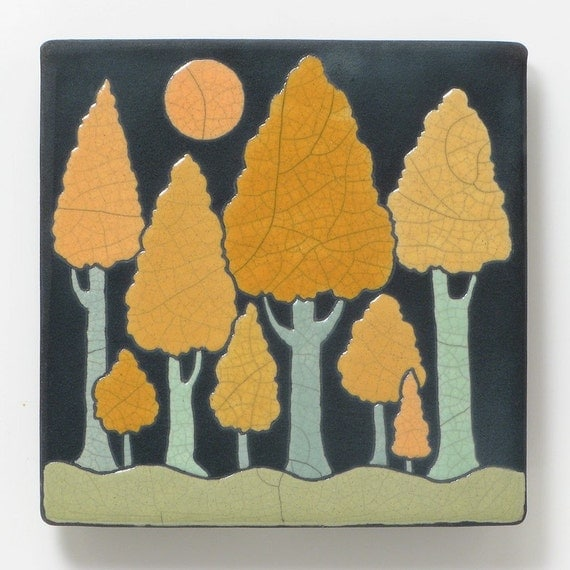 Fall trees,Ceramic tile , golden yellow orange trees, handmade 6x6 raku fired art tile