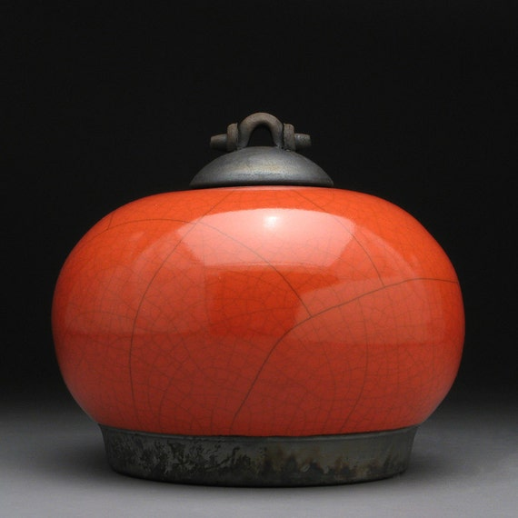 Ceramic lidded jar,Red Orange Raku Jar with lid, art pottery,wheel thrown,handmade