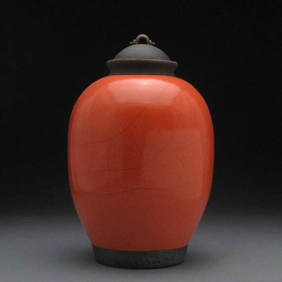 Ceramic lidded jar,urn,Red Orange Raku Jar with lid,large urn, large jar, art pottery,wheel thrown,handmade