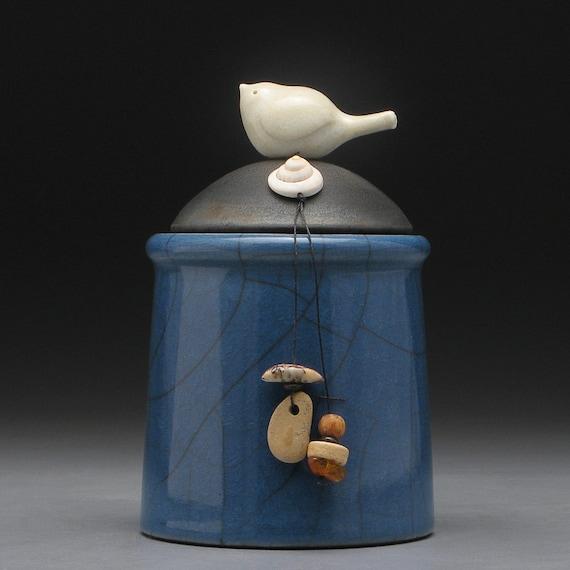 Ceramic jar with Bird, pottery jar ,Little Clay Bird on a blue Jar with lid, raku