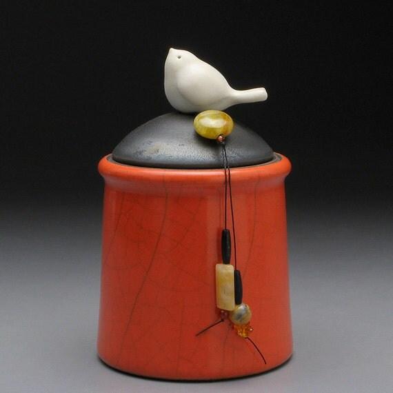 Ceramic jar with Bird, red orange pottery jar ,Little Clay Bird on Jar, raku fired art pottery