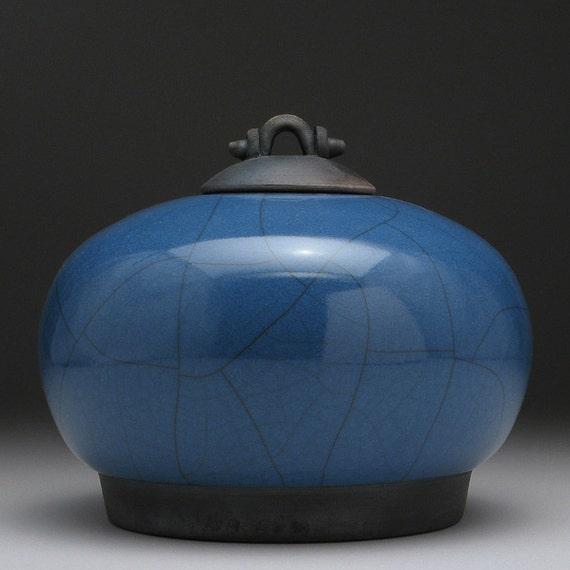 Blue ceramic Jar with lid,Raku Fired Covered Jar,handmade jar,art pottery,small urn