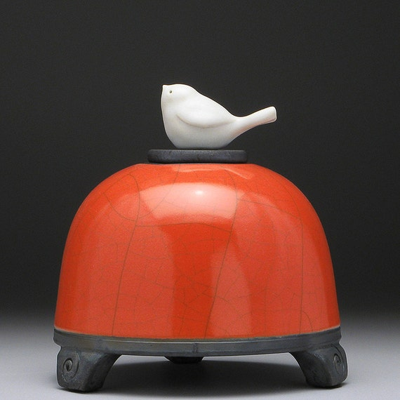 RESERVED FOR JANECeramic Jar with bird ,red orange, Hand Sculpted Bird on lid, raku fired,Pet urn, pottery jar with lid, handmade
