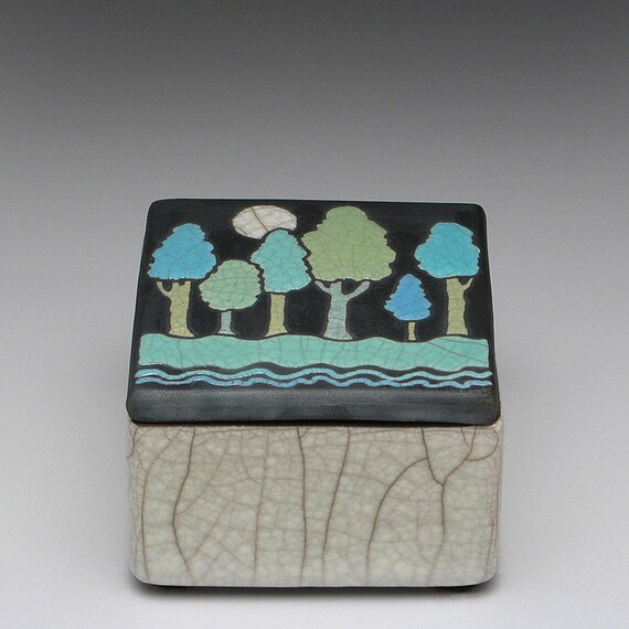 Ceramic box with Full Moon and trees ,handmade,raku,art pottery,square,treasure box,keepsake box,nature inspired