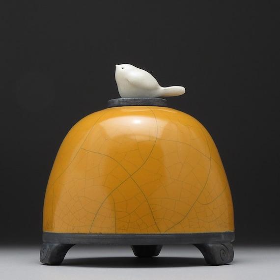 Bird Jar, ceramic jar, Lidded jar, yellow gold, handmade, raku