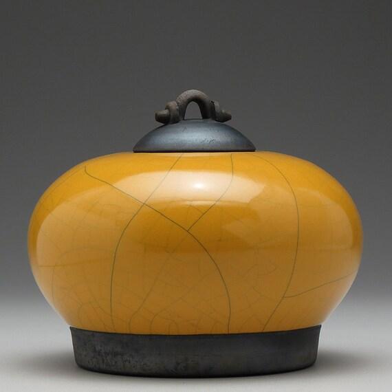 RESERVED FOR SOFIA  Raku Ceramic Jar,yellow gold, art pottery jar with lid,handmade, home decor