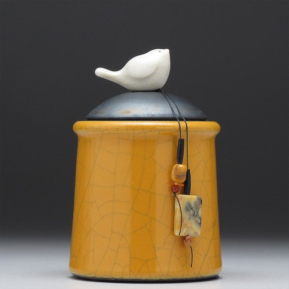 Ceramic Bird jar,yellow gold pottery jar ,home decor,Little Clay Bird on Jar, raku fired art pottery, handmade jar with lid