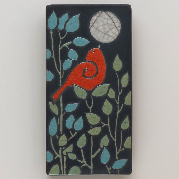 Red Bird,Ceramic tile,handmade 3x6 raku fired art tile, wall art
