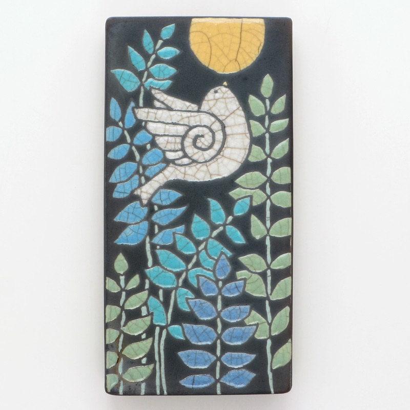 Bird Ceramic Bird Wall Art Handmade Raku Fired Art By